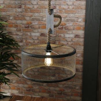 Suspension industrielle effet maille 1 lampe ronde TRIBECA