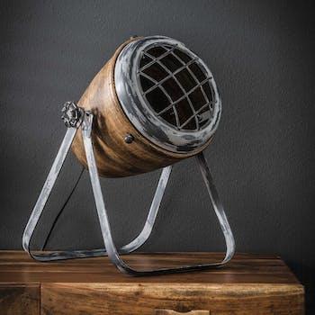 Lampe projecteur métal vieilli bois orientable LUCKNOW