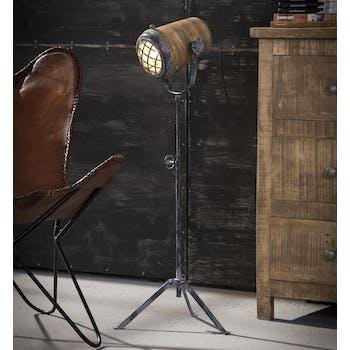 Lampadaire projecteur métal vieilli bois orientable MM LUCKNOW