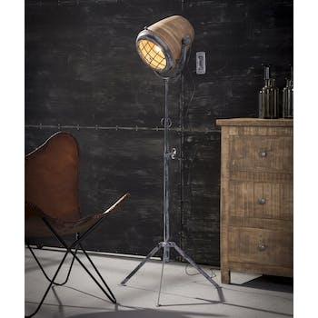 Lampadaire projecteur métal vieilli bois orientable GM LUCKNOW