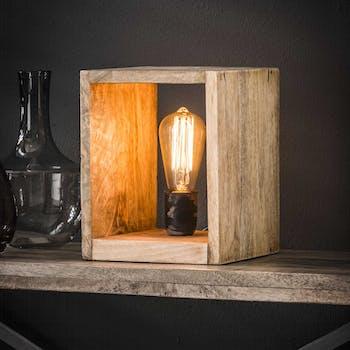 Cube lumineux bois de manguier PM LUCKNOW