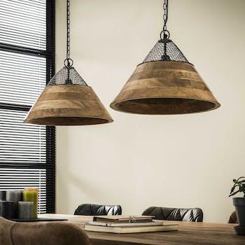 Suspension bois métal 2 lampes forme cône LUCKNOW