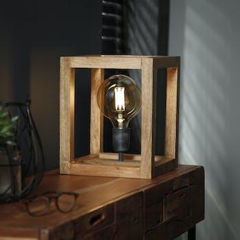 Lampe cube en bois LUCKNOW