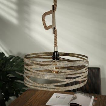 Suspension industrielle ronde effet ruban et corde RALF