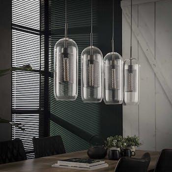 Suspension contemporaine verre acier perforé 4 lampes NIAGARA