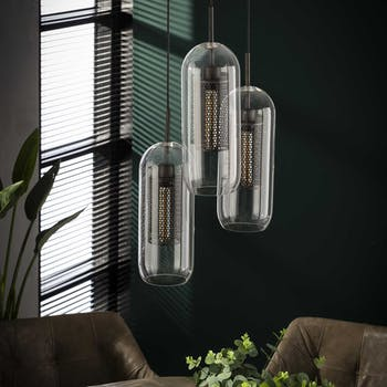 Suspension contemporaine 3 lampes verre acier perforé NIAGARA