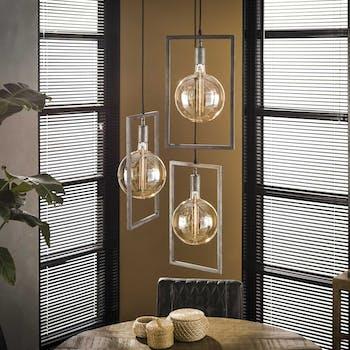 Suspension industrielle graphique 3 lampes cadre métal TRIBECA