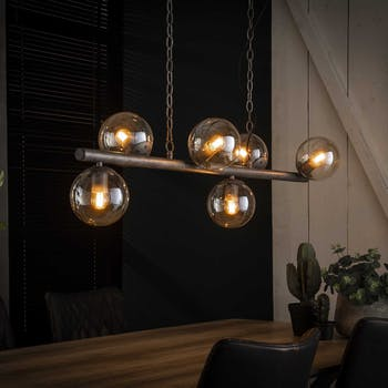 Suspension industrielle 5 lampes globes verre NIAGARA