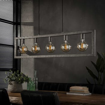 Suspension industrielle cadre 5 lampes NIAGARA
