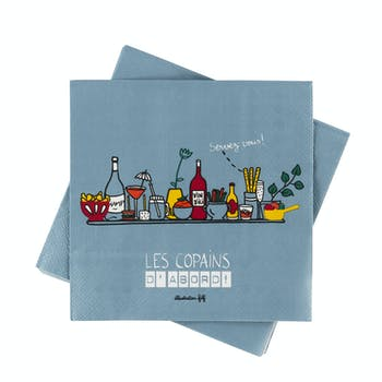 Serviettes papier (lot de 20) Les copains gris DLP