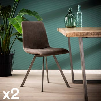 Chaise de salle à manger tissu gris anthracite JAVA (lot de 2)