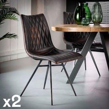 Chaise vintage motif diamant couleur brun (lot de 2) MELBOURNE