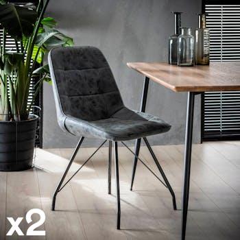 Chaise salle à manger noire motif carré (lot de 2) MELBOURNE