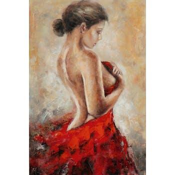 Tableau de femme drapé rouge