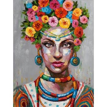 Tableau de femme avec coiffe de fleurs