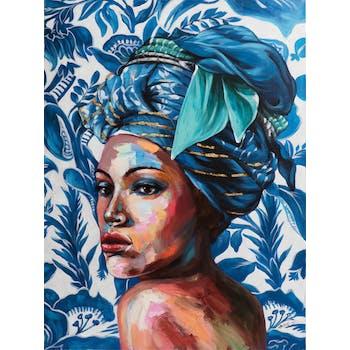 Tableau de femme avec coiffe bleue