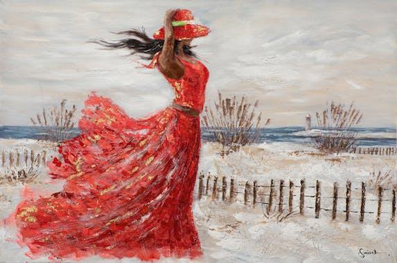 Tableau de femme sur la plage en robe rouge