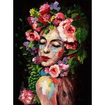 Tableau de femme avec coiffe de fleurs fond noir