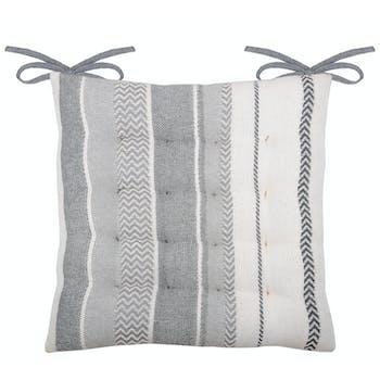 Galette de chaise 16 points à bandes grises 40 x 40 cm