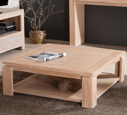 Table basse carrée sous plateau moderne teck blanchi 90cm DIANE