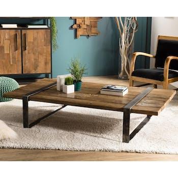 Table basse en Teck recyclé et pieds métal cerclés 164x90x36cm MATT