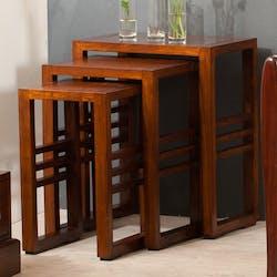 Table gigogne bois style colonial LOLA (lot de 3)