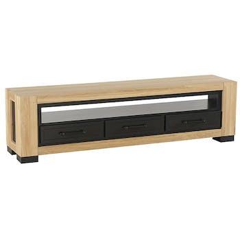 Meuble tv en chêne 3 tiroirs ATLANTA