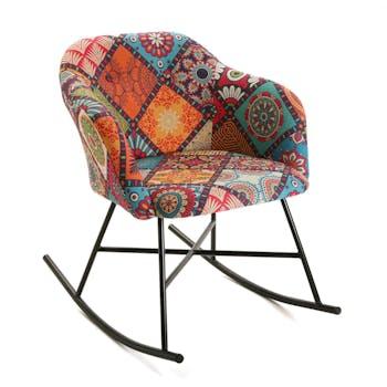 Rocking chair patchwork carreaux MADRID