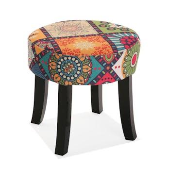 Petit tabouret patchwork carreaux MADRID
