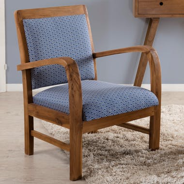 Fauteuil Teck assise tissu coton bleu motifs traditionnels vagues Seigaiha 61x63x81cm DIKA