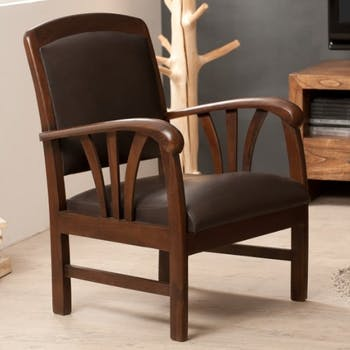 Fauteuil colonial teck assise cuir DIKA