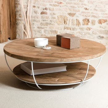 Table basse ronde teck recyclé structure filaire blanche 2 plateaux SWING