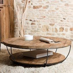 Table basse ronde double plateaux en teck recyclé et métal noir D100xH35cm SWING