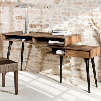 Bureau rotatif esprit scandinave en Teck recyclé 1 tiroir, 3 niches 160x59,5x78cm SWING