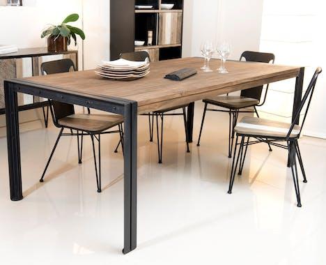 Table de repas en Teck recyclé et métal noir 200x100x78cm SWING