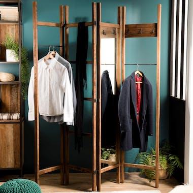 Portant à vêtements bois recyclé miroir SWING