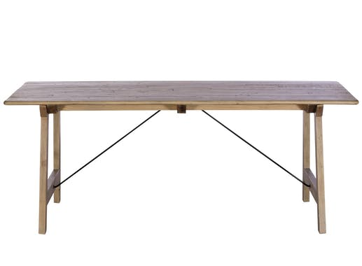 Table à manger en bois recyclé clair tréteaux 200 cm SALERNE