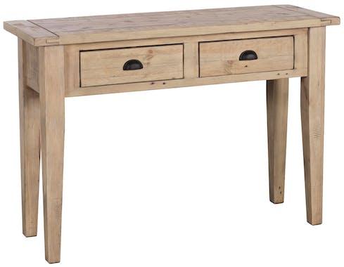 Console 2 tiroirs bois recyclé clair SALERNE