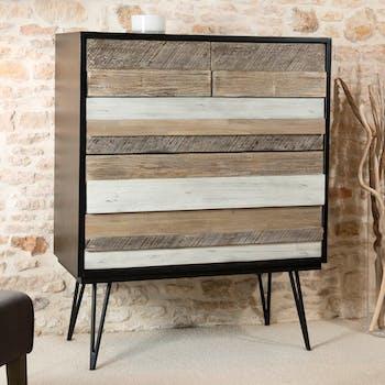 Commode en Acacia massif noir 5 tiroirs bandes teintes variées et pieds métal noir 100,5x45x126cm CADIX