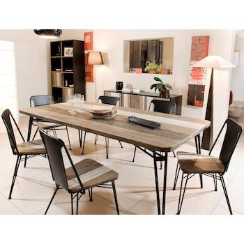 Table de repas en Acacia massif bandes teintes variées et pieds métal noir 200x100x77cm CADIX