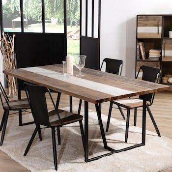 Table de Repas en Acacia dégradé en couleurs et métal 200x100x74cm MATHYS