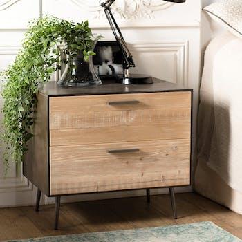 Table de chevet contemporaine bois de sapin CARPATES