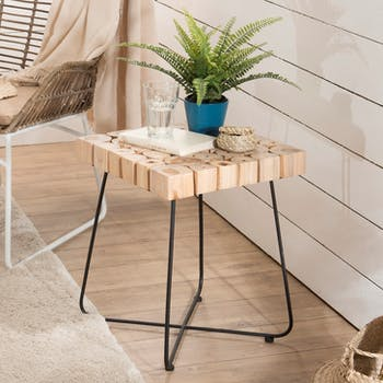 Bout de canapé bois de teck métal forme carrée Jaipur