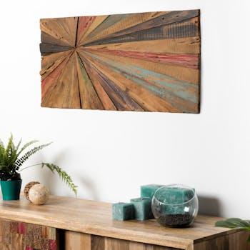 Décoration murale bois de teck coloré OTTAWA