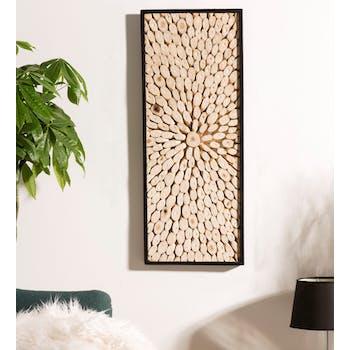 Décoration murale bois de teck graphique rectangle OTTAWA