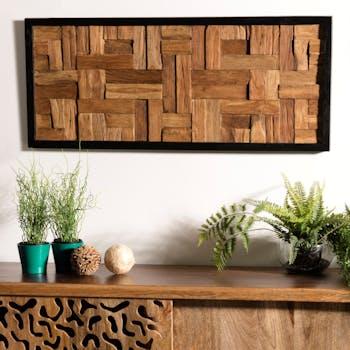 Décoration murale bois de teck motif damier OTTAWA