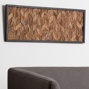 Décoration murale bois de teck motif chevron OTTAWA
