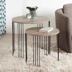 Table gigogne bois métal rétro LANDAISE (lot de 2)