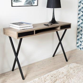 Bureau / Console rétro bois 2 tiroirs et pieds croisés métal noir 120X40X78cm LANDAISE