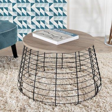Table basse ronde rétro bois et pied tiges métal noir façon cage 70X70X44cm LANDAISE
